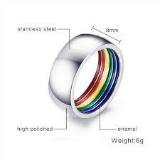 stainless steel wedding rings meaeguet inside rainbow ring for men stainless steel wedding ring