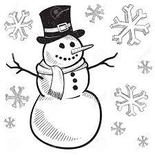 drawn snowman winter season pencil and in color drawn snowman