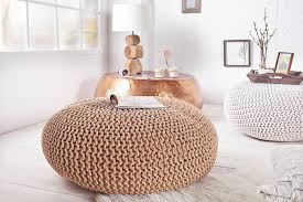sitzkissen design design strick pouf leeds coffee 70cm hocker baumwolle in