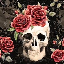 beautiful pattern with watercolor skull and roses royalty free