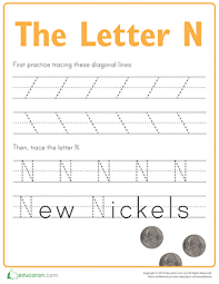 practice tracing the letter n worksheet education com