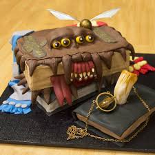 girlfriend made a monster book of monsters wedding cake for a