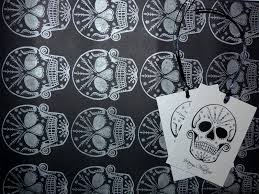 skull wrapping paper handmade christmas gift tag frosted sugar skull tattoo