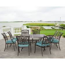 traditions 9 piece square dining set in ocean blue traddn9pcsq blu home outdoor living traditions 9 piece square dining set in ocean blue traddn9pcsq blu