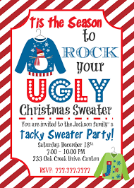 ugly christmas sweater invitation ugly holiday sweater