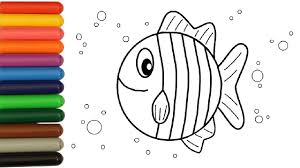 rainbow sea fish coloring for kids colouring videos for children
