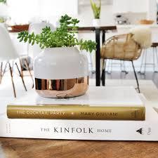 small white planter copper accent u2013 kristin dion design