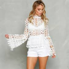 hollow out lace blouse fashion flare sleeve tassel blouses