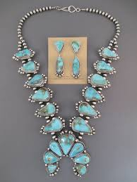 turquoise necklace earring set images Pilot mountain turquoise squash blossom necklace earrings jpg