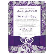 winter wonderland photo wedding invitation purple silver white