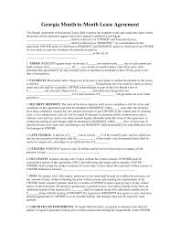 Rent Per Month by Free Georgia Month To Month Rental Agreement Template Pdf Word