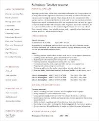Sample Of A Teacher Resume by Substitute Teacher Resume Example 5 Free Word Pdf Documents