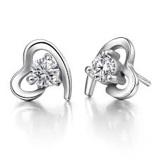 heart shaped diamond earrings 2018 925 silver jewelry hearts earrings swiss diamond earrings the
