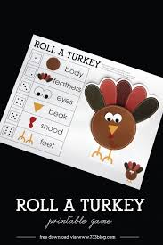 roll a turkey children s thanksgiving gaming and printing