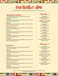pages menu template letter size menu template pages