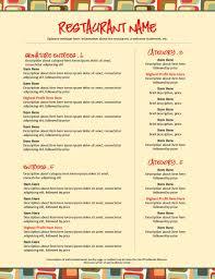 pages menu template letter size menu template pages