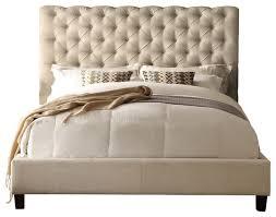 Beige Upholstered Bed Calia Queen Upholstered Panel Bed Beige Queen Panel Beds By