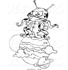 vector of a cartoon boy alien on a planet outlined coloring page