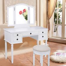 Bedroom Vanity Set With Drawers Black White Vanity Makeup Dressing Table With Tri Folding Mirror