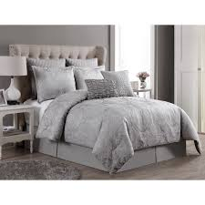 Grey Comforter Sets King Vcny Rennes 8 Piece Two Tone Embroidered Bedding Comforter Set