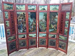 chinese room divider vintage oriental privacy screen w reverse painted glass 6 panels