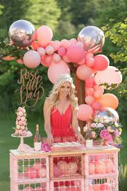rose bar and balloon garland from one stylish party rose all day