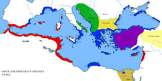 Map Of Colonies Map Of Phoenician And Greek Colonies At About 550 Bce