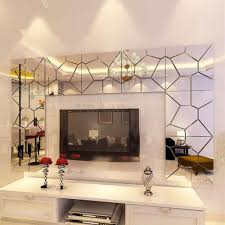 7pcs 3d irregular mirror effect wall stickers art mural decal