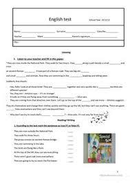 31 free esl 6th grade worksheets