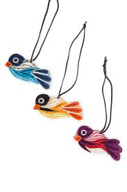 quilled paper bird ornaments