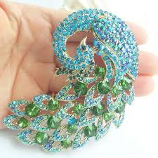 peacock turquoise deco peacock brooch turquoise green rhinestone brooch