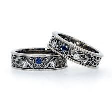 filigree wedding band items similar to filigree wedding band set with blue sapphires and