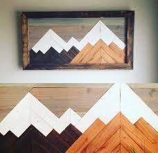 mountain wood wall decor mountain geometric
