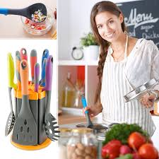 amazon com kitchen knife and utensil set with rotating stand