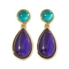 purple earrings roberto by rfm blue and purple cabochon goldtone drop