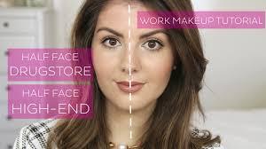 half face makeup tutorial dupes for high end s everyday makeup work makeup you