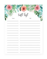 printable shower gift lists to keep track of your gifts instant