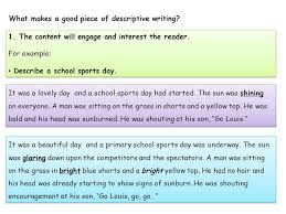 what makes a of descriptive writing and that s how