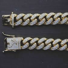 10mm diamond diamond cuban link bracelet in yellow gold 10mm gld gold