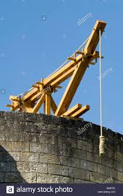 reconstructed lifting crane in coudray fort chinon castle france