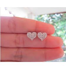 illusion earrings diamond 2 75 carat illusion diamond white gold heart earrings 18k