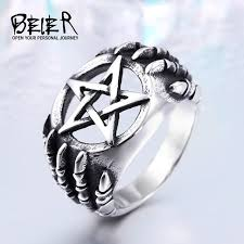 rings sale cheap images Beier stainless steel gothic five star claw biker ring man cheap jpg