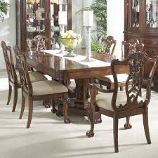 7 piece dining room set with elegant double pedestal table and