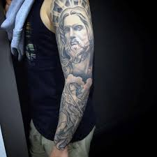 50 jesus sleeve tattoo designs for men religious ink ideas