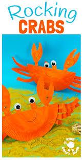 rocking paper plate crab craft kids craft room