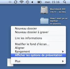 afficher les icones du bureau mac os x modifier la présentation du bureau