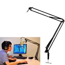 2 x mic microphone suspension boom scissor arm stand holder for
