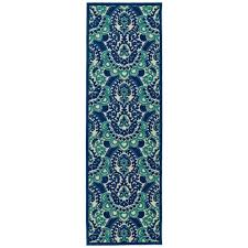 Indoor Outdoor Rug Runner Kaleen Five Seasons Navy 2 Ft 6 In X 7 Ft 10 In Indoor Outdoor