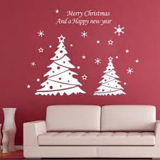 christmas tre e u0026 snowflakes wall stickers window decal mural vinyl