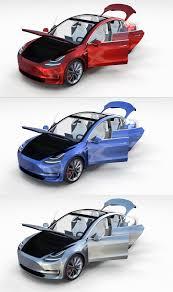 tesla model 3 with interior pack 3d model in limousine 3dexport